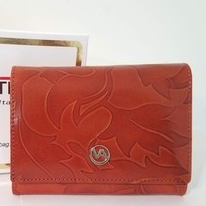 New Valentina Brown Leather Floral Embossed Wallet